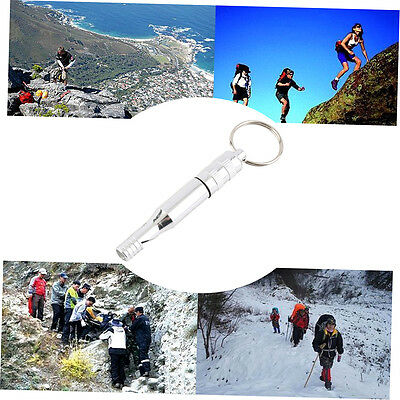 Aluminum Alloy Emergency Survival Whistle Outdoor Hiking Keychain Multicolor ZX