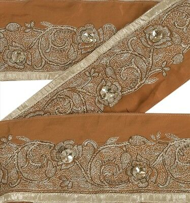 Vintage Saree Border Hand Beaded Indian Sewing Craft Trims Lace 1 Yard