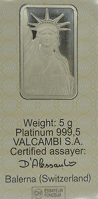 Superb !!! 5 gram Platinum Bar - Credit Suisse (In Assay)
