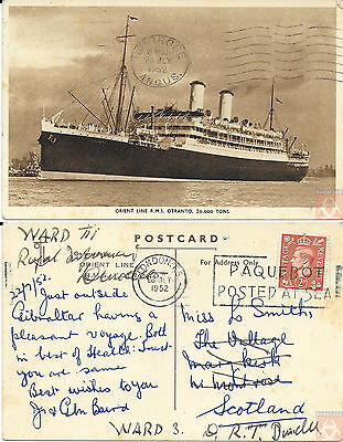 Angleterre - Carte Postale PAQUEBOT - OTRANTO - Posted at Sea 1952 - London FS