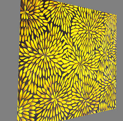 Painting Aboriginal Art BUSH PETALS yellow jane crawford FRAMED  CANVAS  PRINT