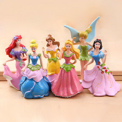 6PCS DISNEY Princess Figures Toy Cinderella Aurora Belle Figurine