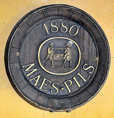 Insegna Birra Pubblicitaria Botte Beer Barrel Maes Pils Pub Epoca Targa Bar Top