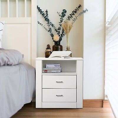 Bedside with 2 Drawers Cabinet Side Table Nightstand Storage Unit Shelf White