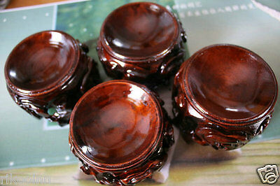 """4Pcs  3.9"""" Caved Patina Wood Tower Stand Pedestal Holding CRYSTAL Sphere"""