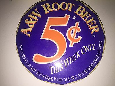 Vintage A+W Pinback Button Root Beer Five Cents This Week Only 3 Inch