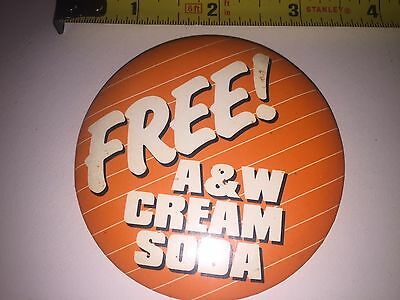 Vintage A+W Pinback Button Free A+W  Cream Soda 3 Inch Employees Advertising