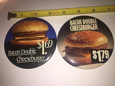 Vintage McDonald's 2 Pinback Buttons 3 Inch Bacon Double CheeseBurgers 1.69 1.79