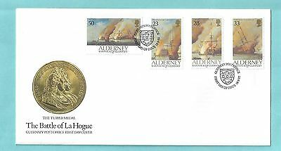Alderney CI Channel Islands First Day Cover FDC 1992 The Battle of La Hogue