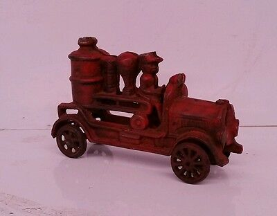 Cast iron toy red fire engine