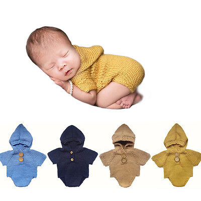Newborn Baby Infant Knit Hooded Romper Jumpsuit Bodysuit Outfits Photo Prop