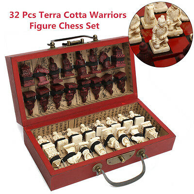 Chinese Wood Leather Box With 32 Pieces Terra Cotta Warriors Figure Chess Set