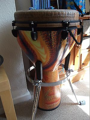 """Fantastic Remo 14"""" Djembe Drum with stand and gig bag colour serpentine day"""