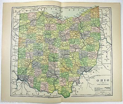 Original 1882 Map of Ohio by Phillips & Hunt