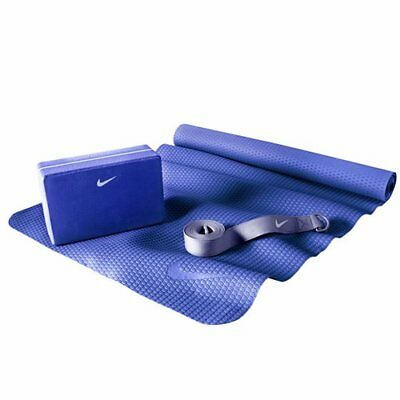 NIKE Essential Yoga Kit Include Yoga Mat / Block / Strap , Blue