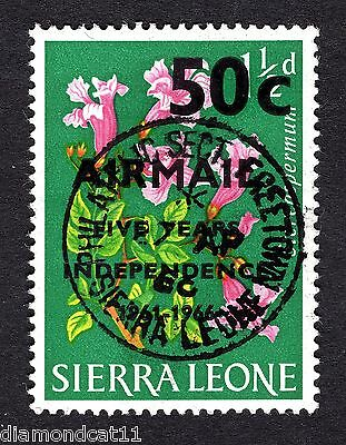 1966 Sierra Leone 50c AIRMAIL OPTD on 1.5d SG 396 FINE USED R26484