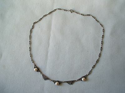 Very Nice Genuine Art Deco Period Silver Marcasite & Pearl Necklace