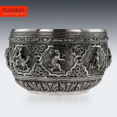 ANTIQUE 19thC BURMESE MAUNG YIN MAUNG SOLID SILVER BOWL, RANGOON c.1905