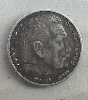 germany 1936 5 marks .900 silver coin .