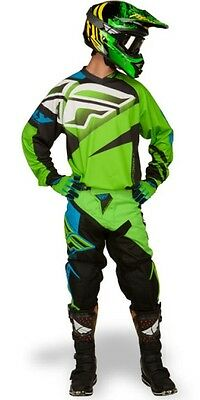 "New 30"" S Adult Fly F-16 Combo Jersey Pants Kit Green Motocross Enduro Sale!"