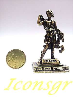 Ancient Greek Olympian God Miniature Sculpture Statue Zamac Diana Artemis Gold
