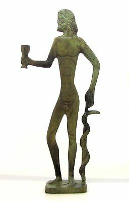 Ancient Statue Asclepius God Of Medicine Bronze Greek Museum Replica (1105)