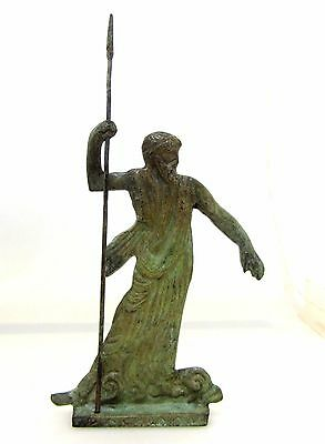 Ancient Greek Bronze Olympian God Pantheon Sculpture Statue Poseidon King Of Sea