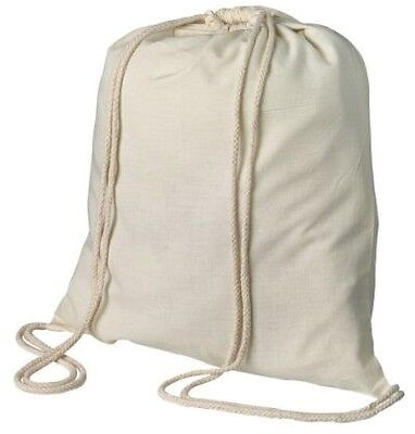 10 cotton drawstring bag backpack tote sports books holiday gym school craft