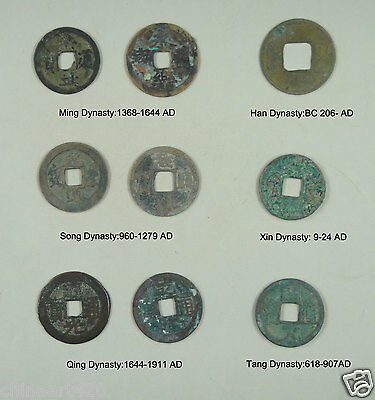 RARE 9 Pieces CHINA Ancient Coins 6 Different Dynasty