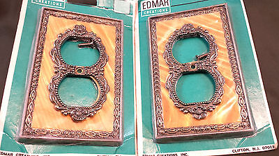 Vintage Ornate Edmar Electrical Outlet Cover Floral Deco Old Gold Brass Tone Nos