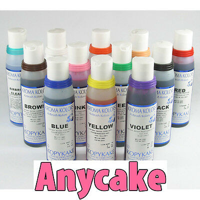 Airbrush Food Colours for cakes. Edible spray liquid ink - set of 12 bottles