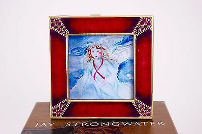 Jay Strongwater Small Red Jeweled Square Frame with box