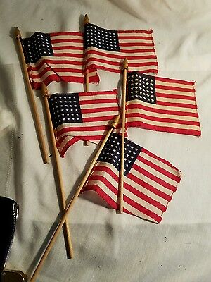 5 Antique 48 Star 4x5 inch Parade Flags Wood Poles gold finials