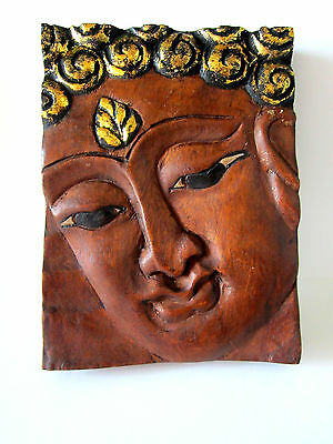 Wooden Buddha Face Wall Art Hanging Carved Decor Home Vintage Oriental Thai