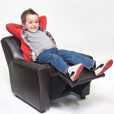 Kid Recliner Chair Children Arm Chair Bonded Leather Brown Childrens Sofa Seat