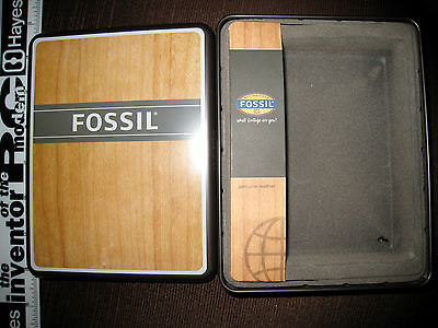 AUTHENTIC FOSSIL BROWN AND WOOD GRAIN TIN 2009 EMPTY A01t