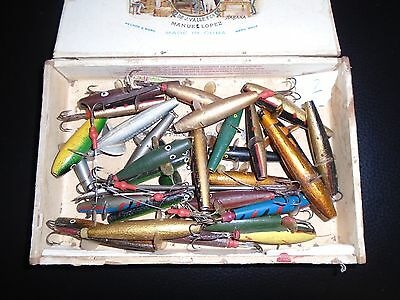 Vintage Lures In A Wood Box