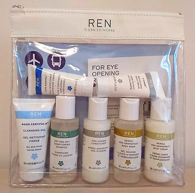 BNIB REN Clean Skincare Face & Body Travel Set, Grab and Go Pouch, Unwanted Gift