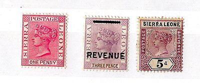 Sierra Leone QV Collection of 3 Mint Values X5504