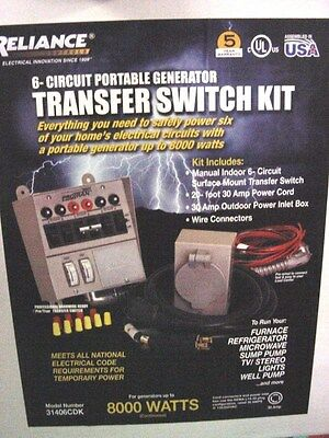 Reliance Controls Manual Transfer Switch 31406CDKN, 6 Circuit, 30 Amp, NEW