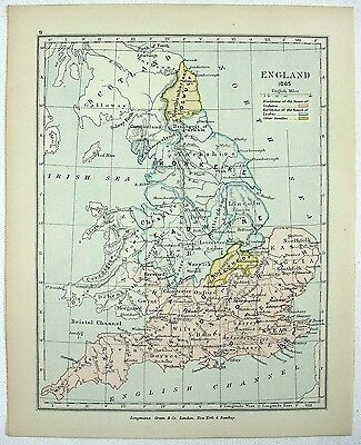 Vintage Longmans Map of England in the Year 1065