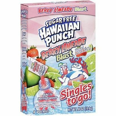 12 Boxes (96 Packets) Of Hawaiian Punch Singles To Go Berry Limeade Blast