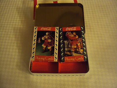 Coca-Cola Nostalgia Playing Cards in Collectible Tin 2 pk-Limited Edition-1994