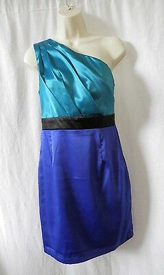 BNWT Women's AX Size 10 Satin Dress Teal Blue One Shoulder Cocktail Party