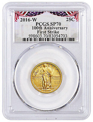2016-W Gold Standing Liberty Quarter Centennial PCGS SP70 FS 100th Flag SKU45513