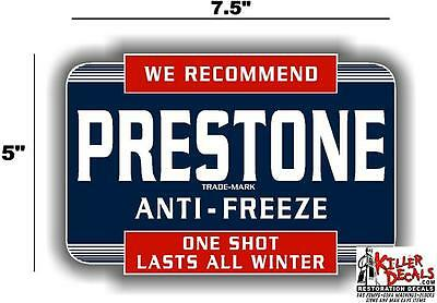"(Pres-Sta-1) 7.5"" Prestone Anti-Freeze Can Decal Station Gasoline Gas Pump"