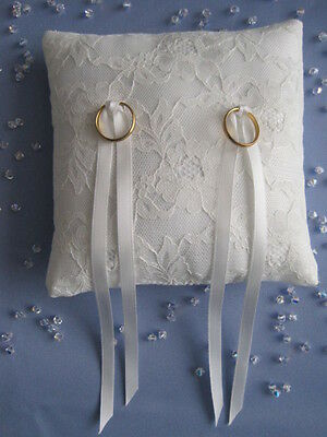 "6 x 6"" IVORY SATIN/LACE BRIDAL WEDDING RING CUSHION PILLOW WEDDING DAY"