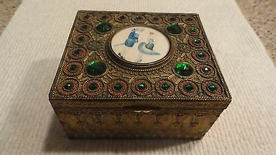 Antique French Deco Jeweled Gilt Casket Box W/ Hand Painted Masquerade Couple