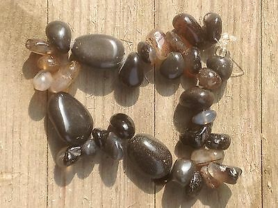 """2 x 8"""" Black jasper bead strands - rough tumbled and in assorted shapes"""