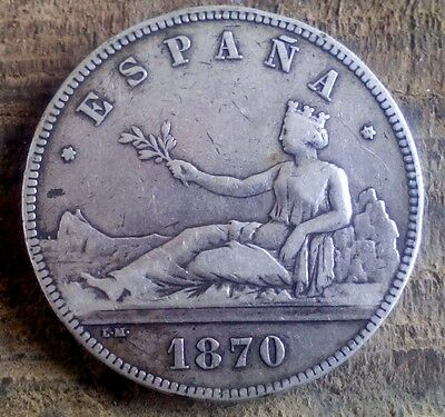 Silver 5 Pesetas 1870 Provisional Governement Spain